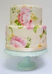 Painted peony wedding cake {via craftgawker.com}