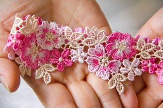 Peony garter, by latelierdececilia on etsy.com