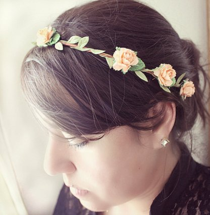 Peony headband, by rosesandlemons on etsy.com