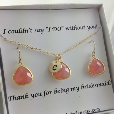 Personalised necklace and earring bridesmaid set, by anatoliantaledesign on etsy.com