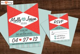 50s-style wedding invitation, by KJohnstonCreative on etsy.com