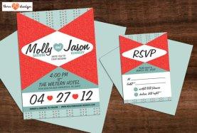50s-style wedding invitation, by KJohnstonCreative on etsy.com