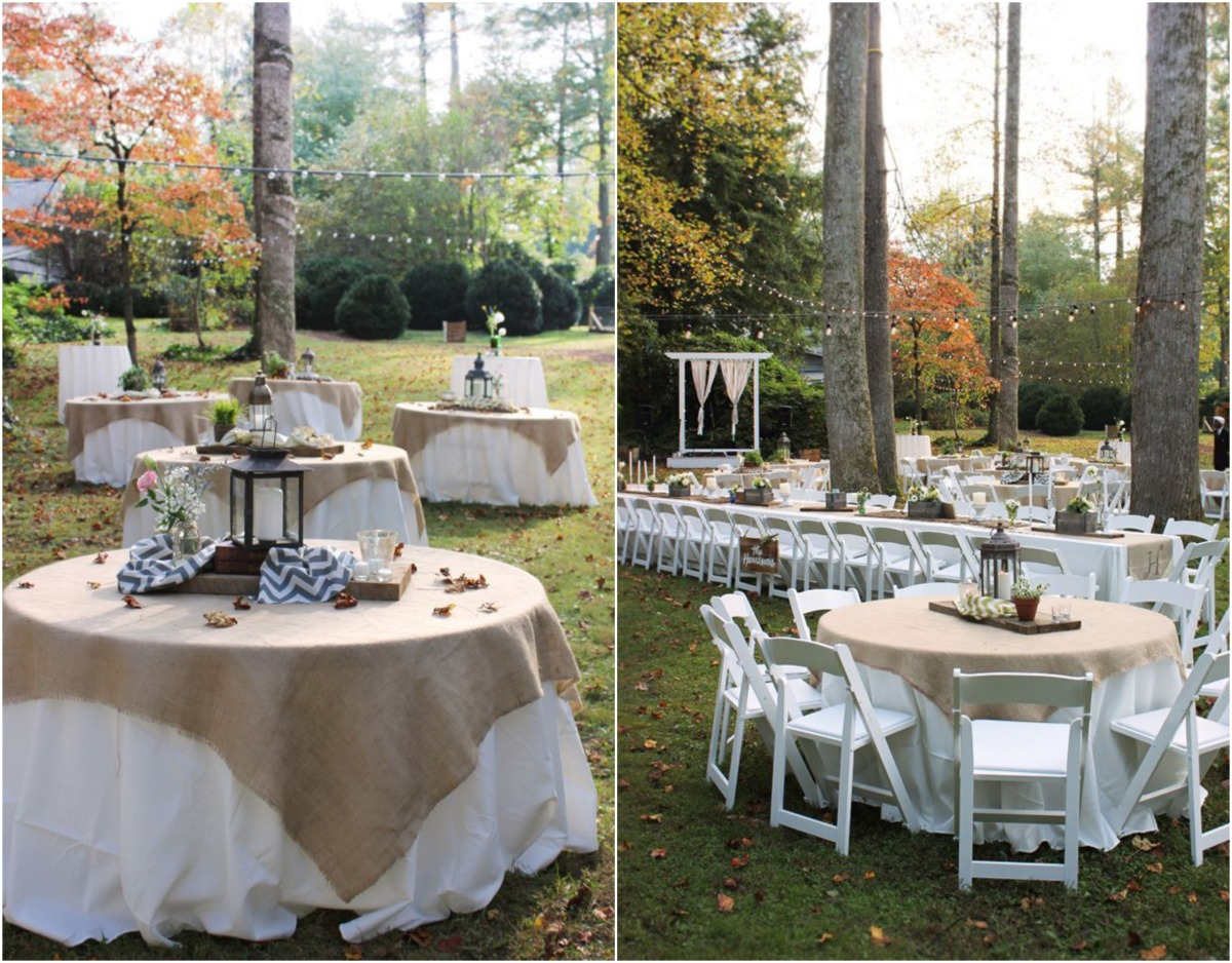 Backyard rustic wedding reception idea via for Rustic outdoor decorating