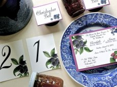 Berry invitation, table numbers and placecards set, by BottleAndCork on etsy.com