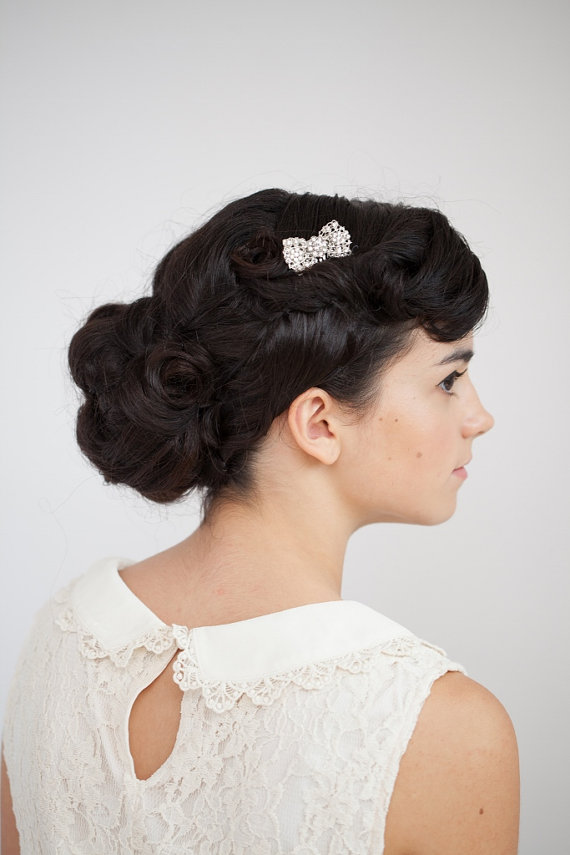 50s style wedding hair 1950s style wedding the merry 3993 | bow hair accessory by roseredrosewhite on etsy com