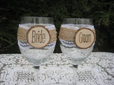 Bride and groom glasses, by YourDivineAffair on etsy.com