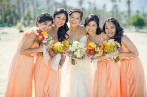 Bridesmaids in peach {via elizabethannedesigns.com}