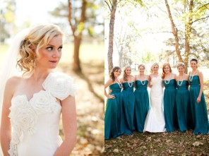 Bridesmaids in teal {via elizabethannedesigns.com}