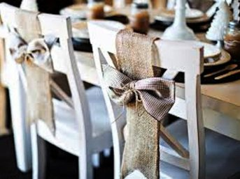 Burlap chair bows, by MadeInBurlap on etsy.com