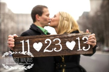 Customised save the date sign, by ThePaperWalrus on etsy.com