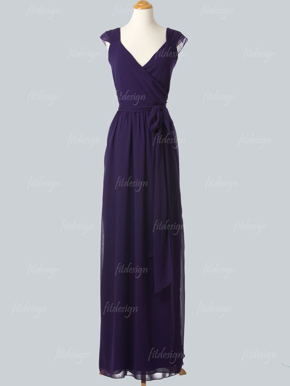 Dark Purple Bridesmaid Dress By Fitdesign On Etsy