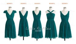 Dark teal bridesmaid dress in various styles, by LittleRufflesBridal on etsy.com