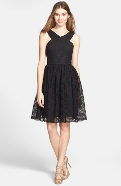 Monique Lhuillier Bridesmaids Cross Neck Lace Fit and Flare Dress, from nordstrom.com