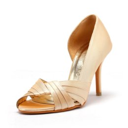 Peach wedding heels, by ChristyNgShoes on etsy.com