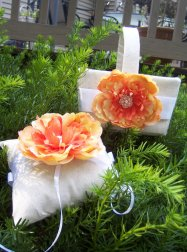 Ring pillow and flower girl basket, by HaynerDesigns on etsy.com