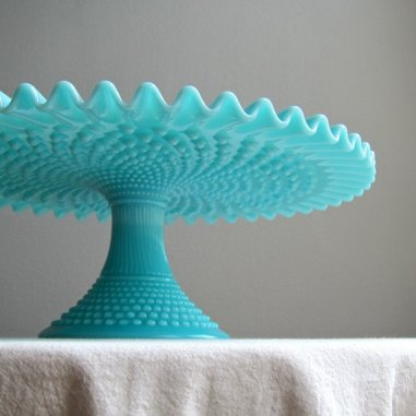 Turquoise milk-glass cake stand, by BarkingSandsVintage on etsy.com