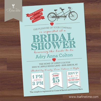 Bridal shower invitation, by AFineTimeInvitations on etsy.com