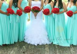 Bridesmaids in Tiffany blue {via weddingbee.com}