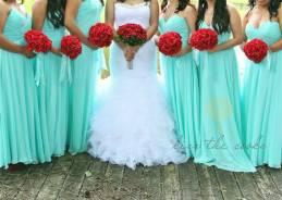Bridesmaids in Tiffany blue {via weddingbee.com}