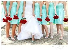 Bridesmaids in Tiffany blue with red bouquets {via indulgy.com}