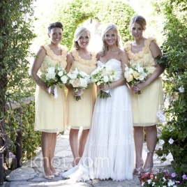 Bridesmaids in butter yellow {via theknot.com}