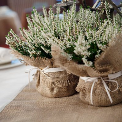 Burlap centrepieces, by BaloolahBunting on etsy.com