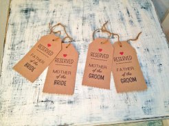 Chair tags, by TexasFarmersDaughter on etsy.com