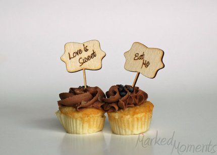 Cupcake toppers, by MarkedMoments on etsy.com