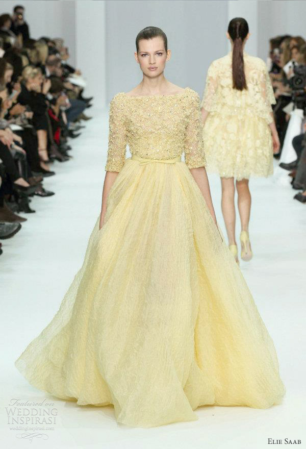 Elie saab wedding dress the merry bride for Yellow wedding dresses pictures