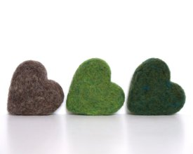 Felt hearts, by Fairyfolk on etsy.com