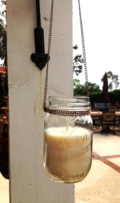Mason jar candle lantern, by ThievesTradeGoods on etsy.com