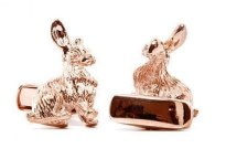 Rose-gold rabbit cufflinks, by PerfectCufflinks on etsy.com
