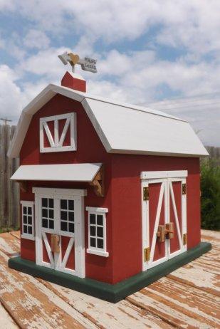 Adorable red barn wedding card holder, by mulberrylanefolkart on etsy.com