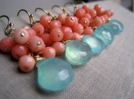 Aqua and coral bridesmaid earrings, by thejewelrybar on etsy.com