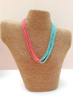 Aqua and coral necklace, by StephanieMartinCo on etsy.com