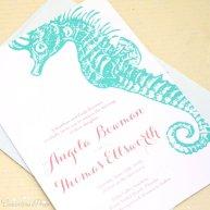 Aqua and coral seahorse wedding invitation, by ConcertinaPress on etsy.com
