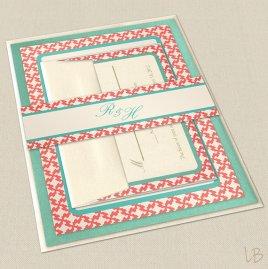 Aqua and coral wedding invitation, by LBcreativepaper on etsy.com