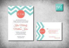 Aqua and coral wedding invitation, by TheWhiteInvite on etsy.com
