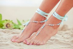 Aqua barefoot sandals, by PassionflowerJewelry on etsy.com