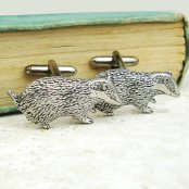 Badger cufflinks, by WildLifeDesignsUK on etsy.com