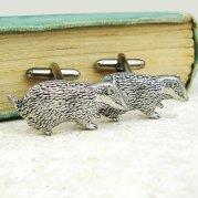 Badger cufflinks, by WildLifeDesignsUK on etsy.com
