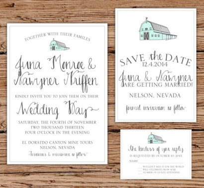 Barn wedding invitation, by OliveJuiceStationery on etsy.com