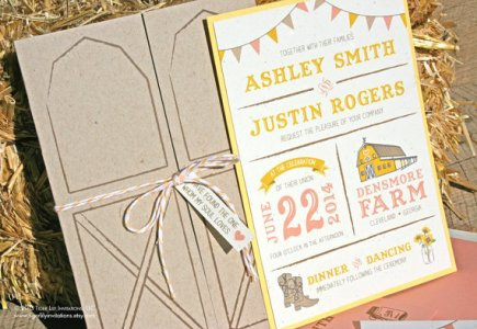 Barn wedding invitation, by TigerLilyInvitations on etsy.com