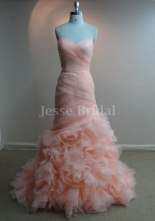 Blush wedding dress, by JesseBridal on etsy.com