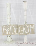 Bride and groom chair signs, by braggingbags on etsy.com
