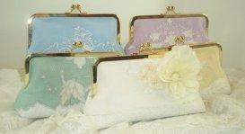 Bridesmaid clutch purses, by PetiteVintageBags on etsy.com