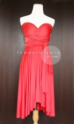 Coral-red bridesmaid dress, by thedaintyard on etsy.com