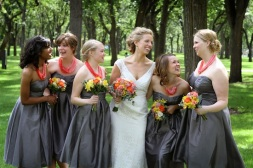 Bridesmaids in grey with coral necklaces {via butterfliesandoranges.wordpress.com}