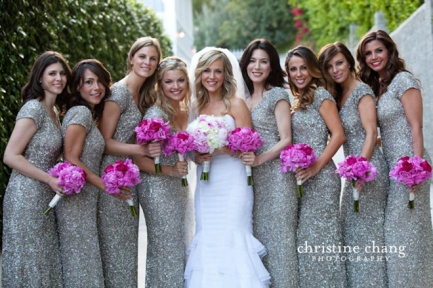 Bridesmaids in silver sequinned dresses {via bellethemagazine.com}