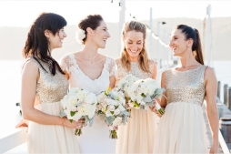 Bridesmaids with sequin dresses {via bellethemagazine.com}